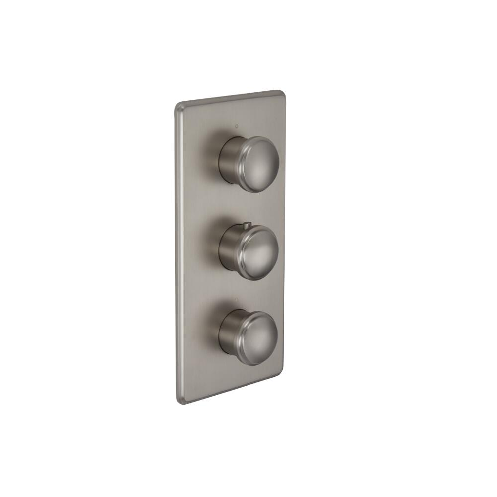Eclipse - Brushed Nickel Triple Thermostatic Shower Valve - Two Outlets