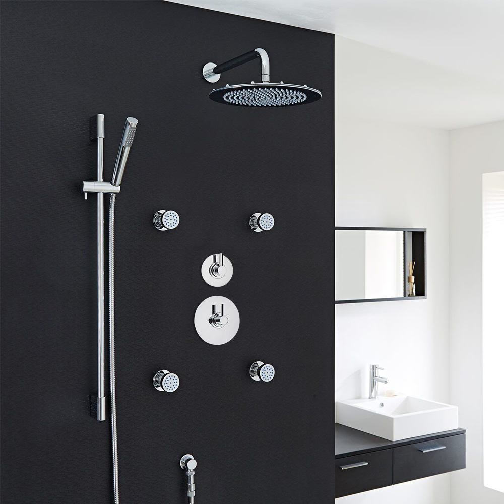 "3-Outlet Shower System with 12"" Round Head, Body Jets & Diverter Valve"