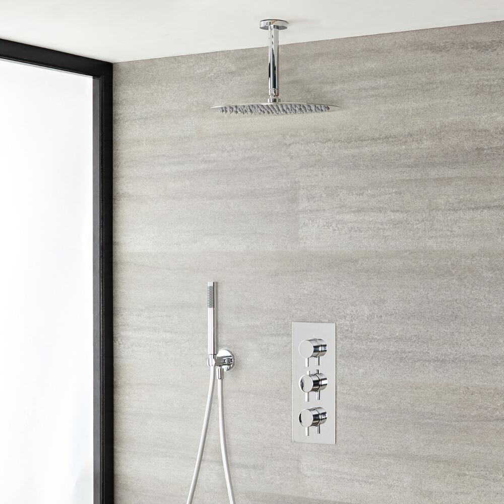 "Quest Thermostatic Chrome Shower System with Ceiling Mount 12"" Shower Head and Hand Shower"