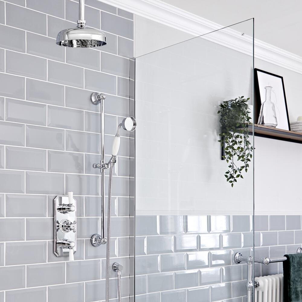 """Elizabeth Traditional Thermostatic Chrome Shower System with Ceiling Mount 12"""" Apron Shower Head and Slide Rail Kit"""