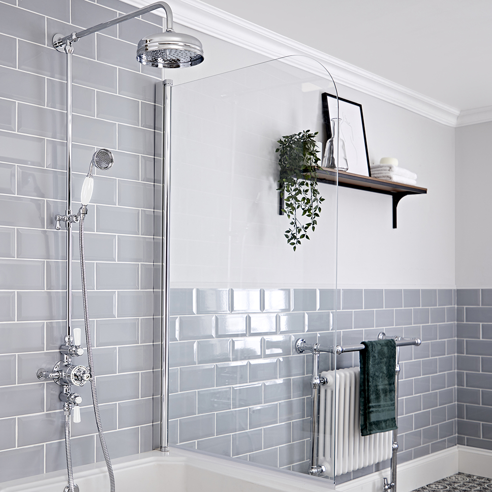 Elizabeth Traditional Exposed Thermostatic Triple Shower Valve with Apron Head, Grand Rigid Riser and Hand Shower