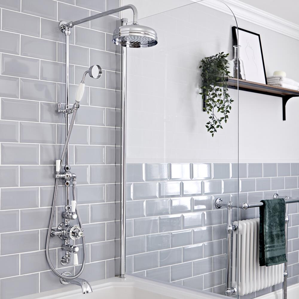Elizabeth Traditional Exposed Thermostatic Chrome Shower System with Apron Head Grand Rigid Riser and Wall Mount Tub Spout