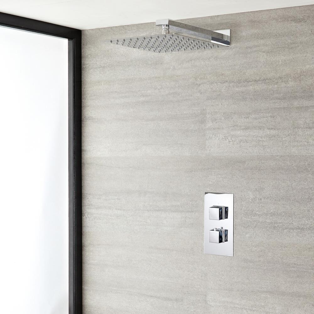 """Kubix Thermostatic Chrome Shower System with Wall Mount 12"""" Shower Head"""