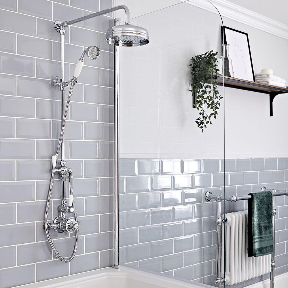 Elizabeth Traditional Exposed Thermostatic Twin Shower Valve with Apron Head Rigid Riser and Handshower