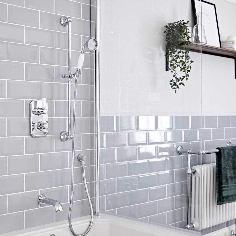 Elizabeth Traditional Thermostatic Chrome Shower System with Slide Rail Kit and Tub Spout