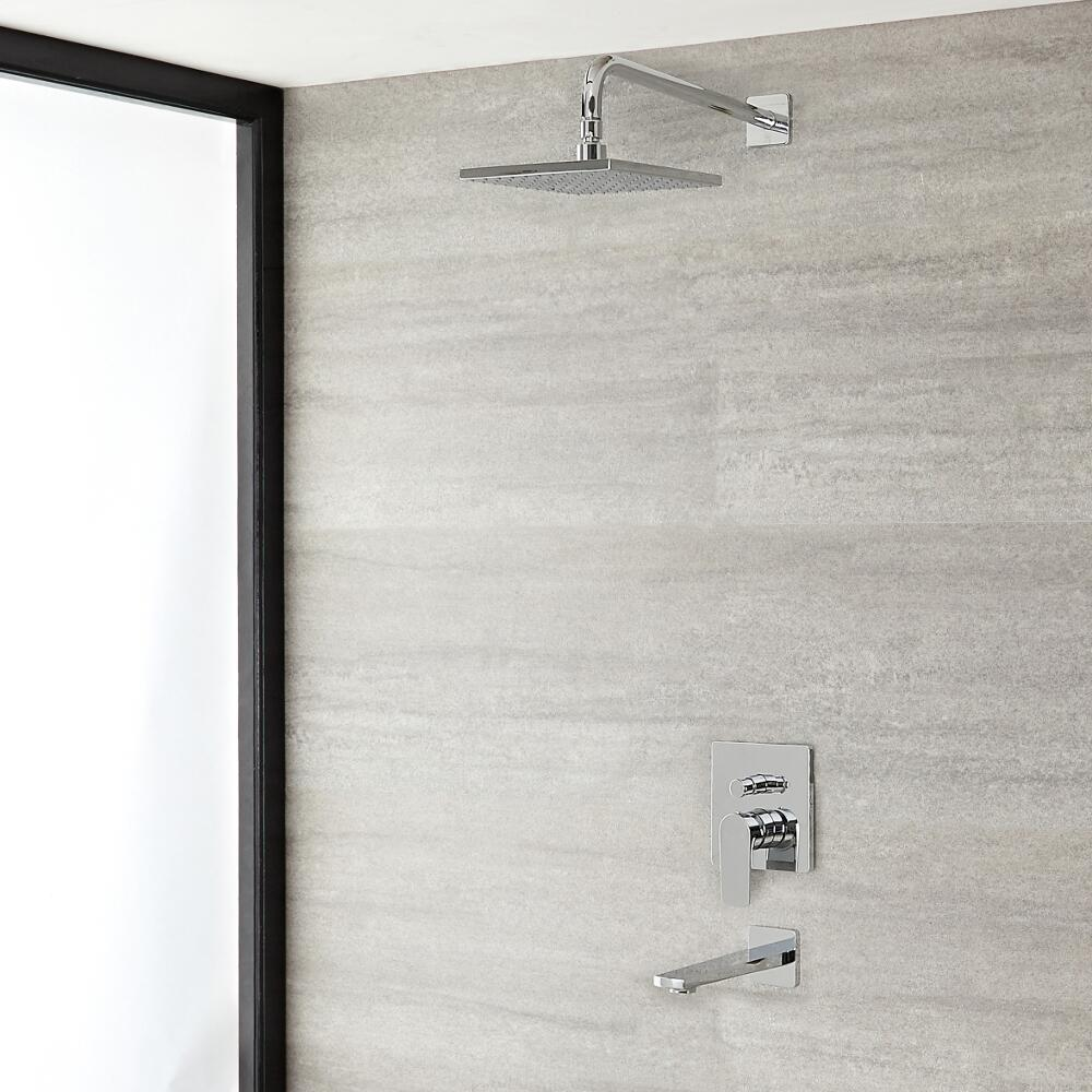 """Arcadia Chrome Shower System with 8"""" Shower Head and Tub Filler"""