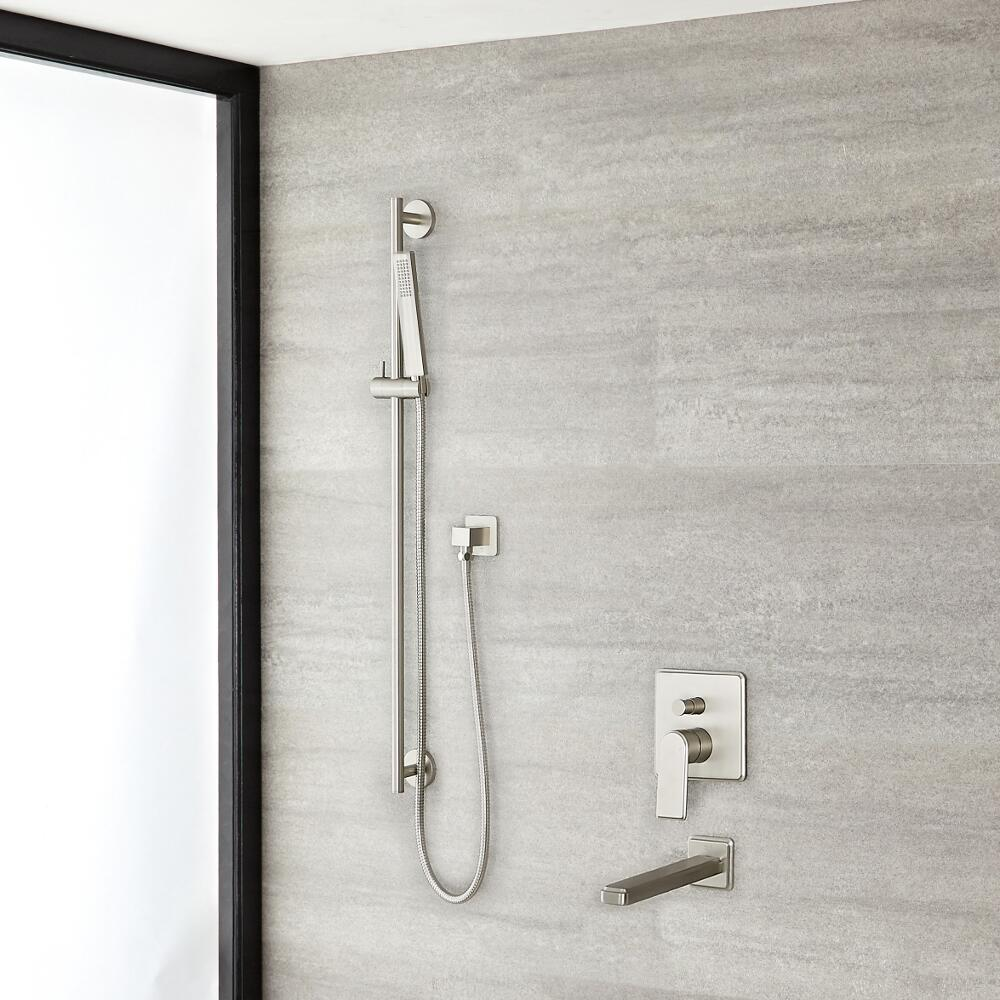 Arcadia Brushed Nickel Shower System with Slide Rail Kit and Tub Filler