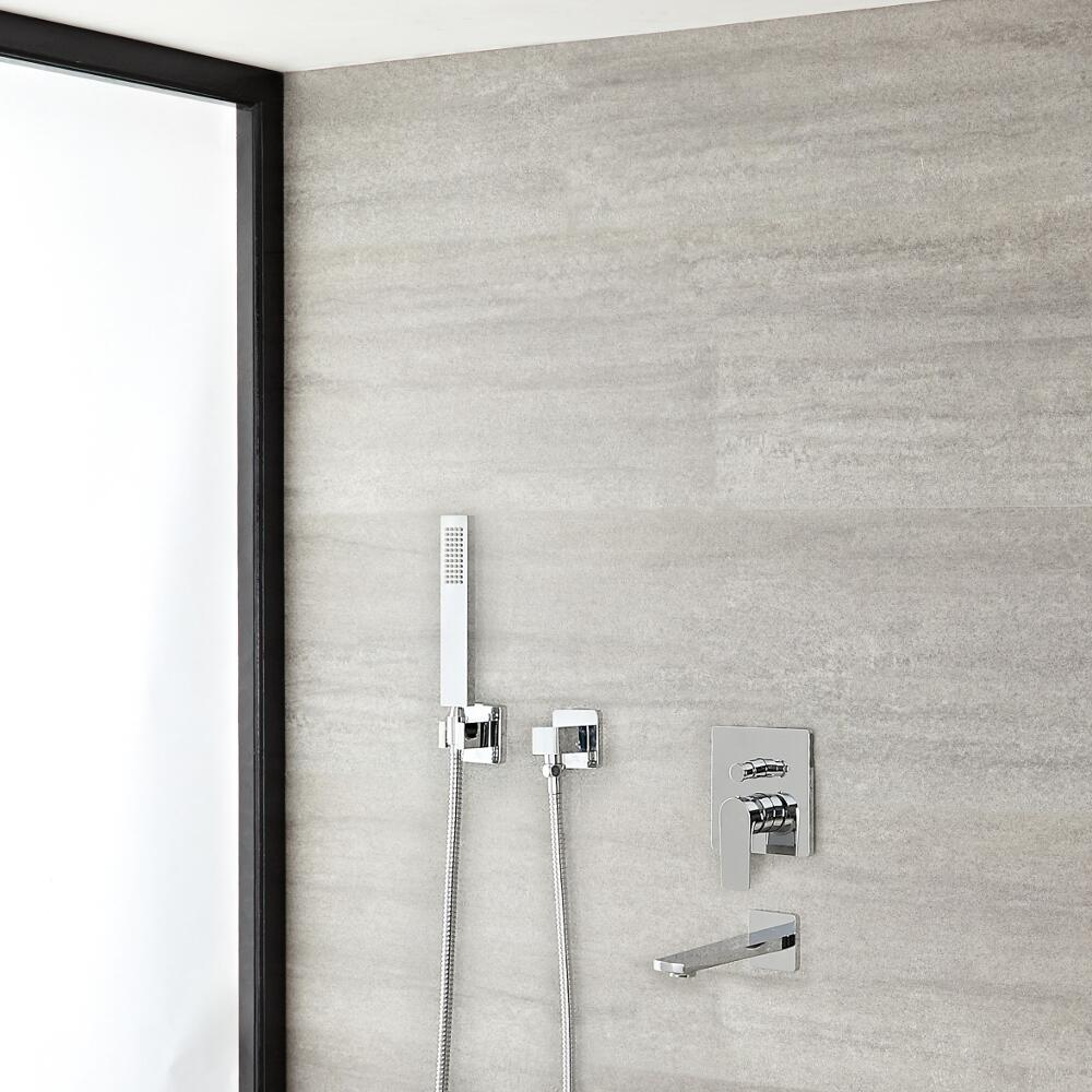 Arcadia Chrome Shower System with Handshower and Tub Filler