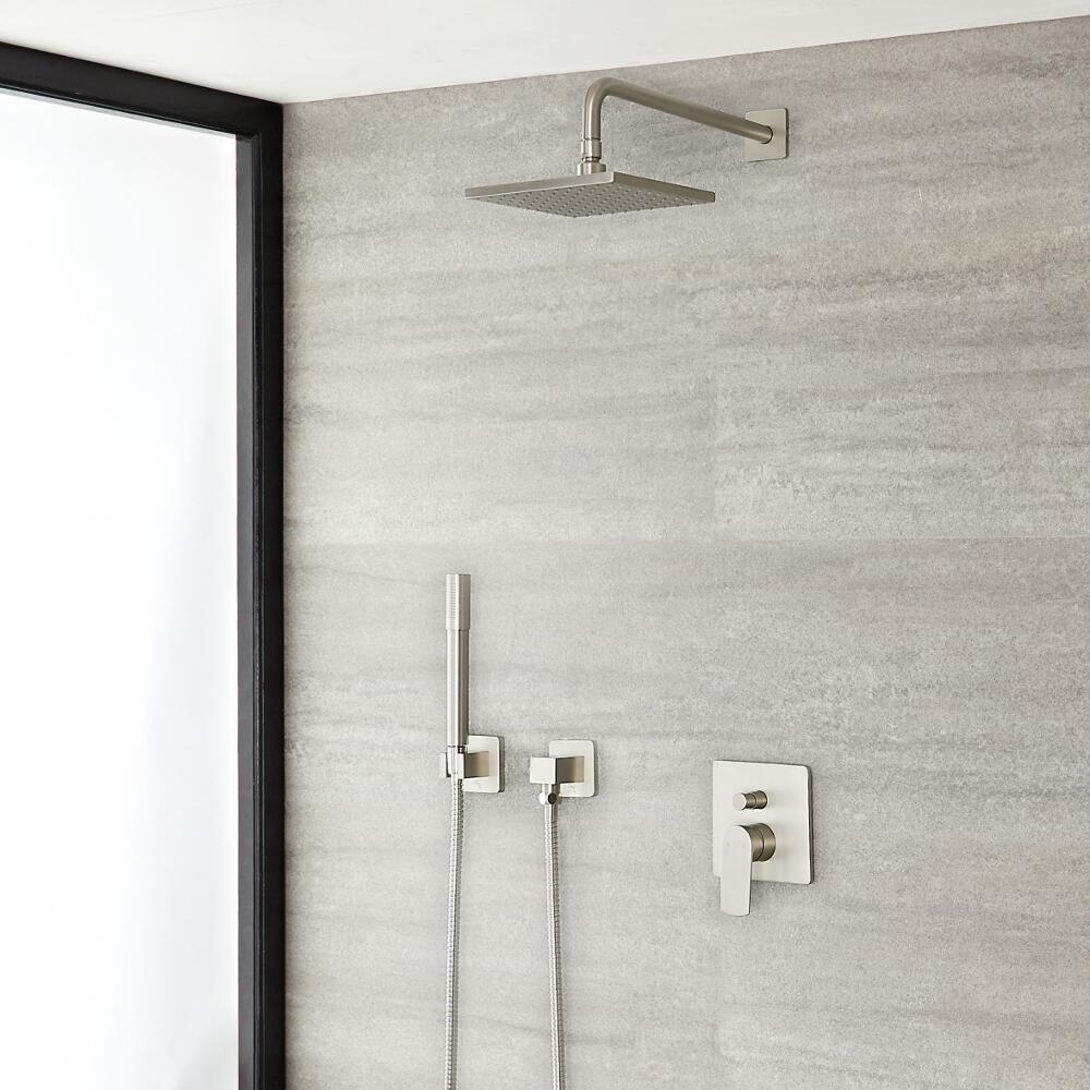 "Arcadia Brushed Nickel Shower System with 8"" Shower Head and Handshower"
