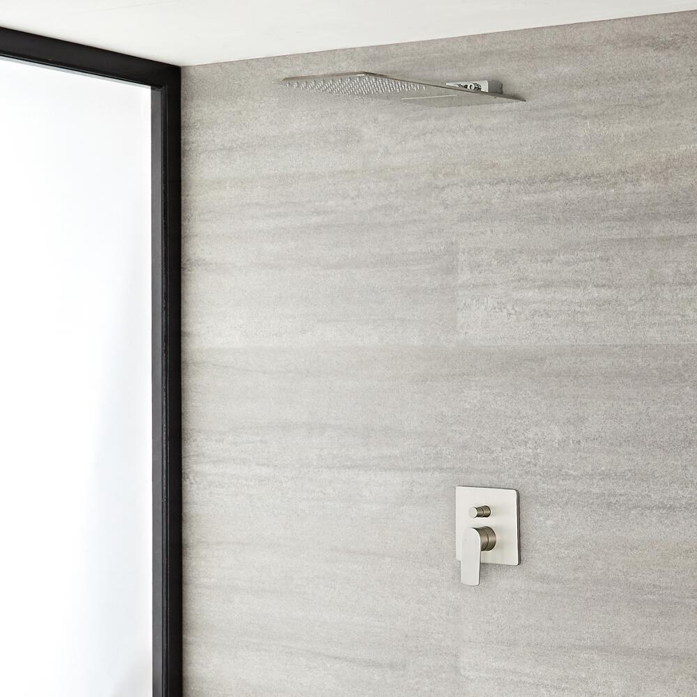 Arcadia Brushed Nickel Shower System with Waterfall Shower Head