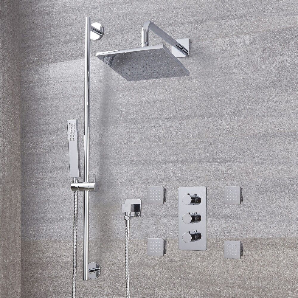 "Arcadia Thermostatic Shower System with 8"" Shower Head, Slide Rail Kit and 4 Body Sprays - Available in Multiple Finishes"
