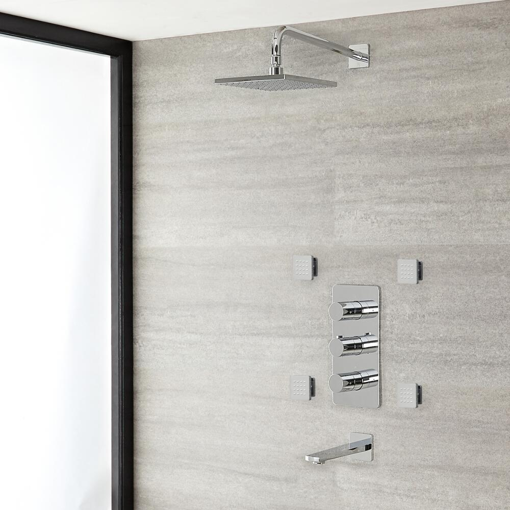 "Arcadia Thermostatic Chrome Shower System with 8"" Shower Head, Tub Spout and 4 Body Sprays"