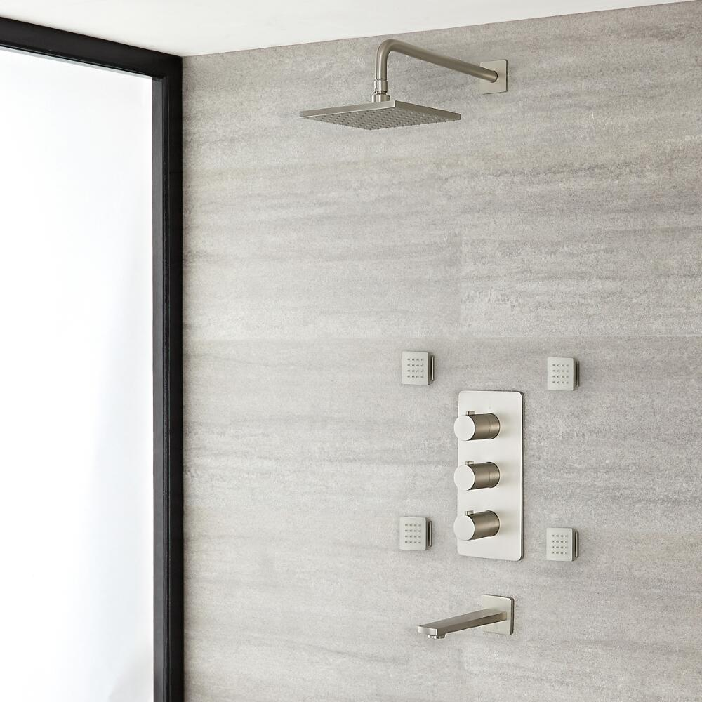 """Arcadia Thermostatic Brushed Nickel Shower System with 8"""" Shower Head, Tub Spout and 4 Body Sprays"""
