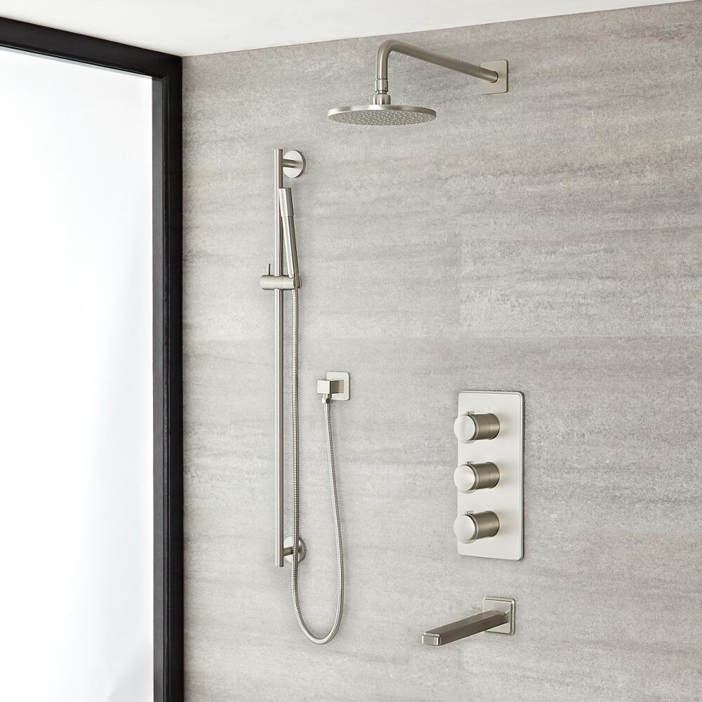 "Eclipse Thermostatic Brushed Nickel Shower System with 8"" Shower Head, Slide Rail Kit and Tub Spout"