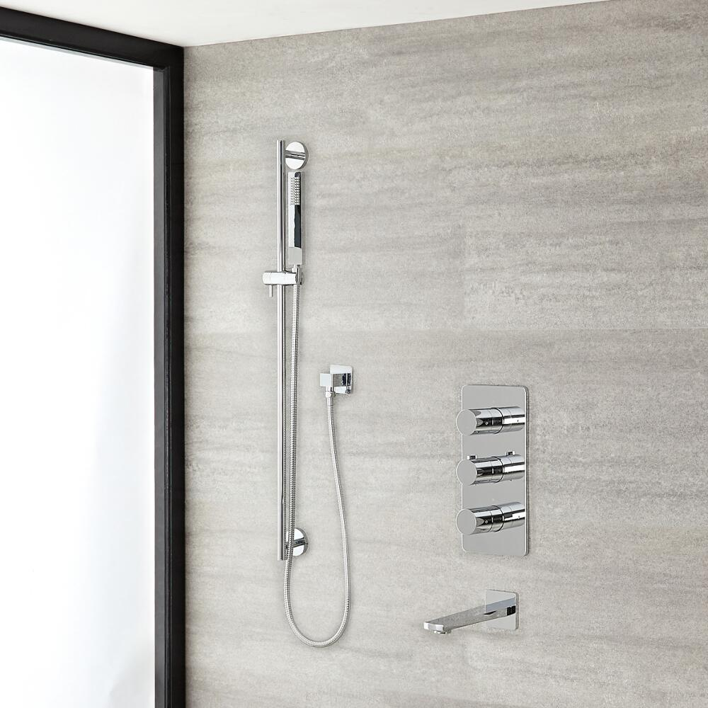 """Arcadia Thermostatic Chrome Shower System with 8"""" Shower Head, Slide Rail Kit and Tub Spout"""