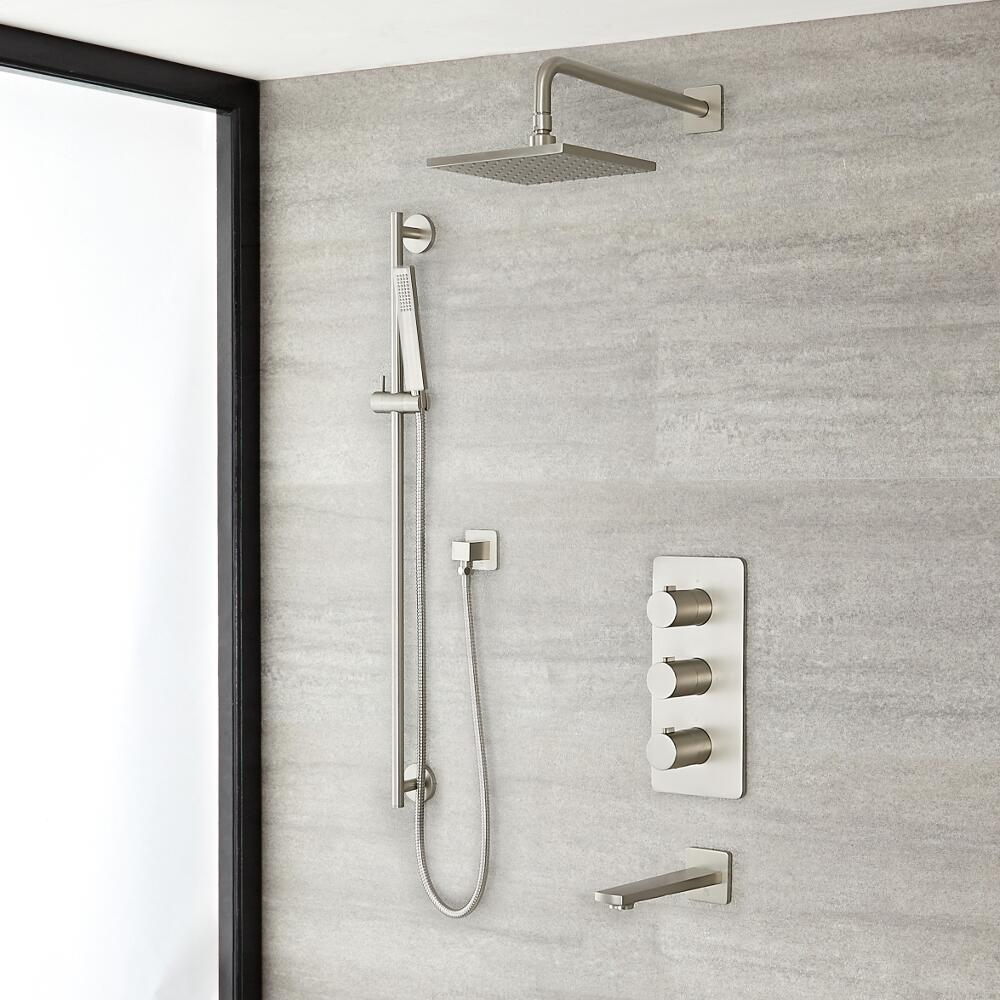 """Arcadia Thermostatic Brushed Nickel Shower System with 8"""" Shower Head, Slide Rail Kit and Tub Spout"""