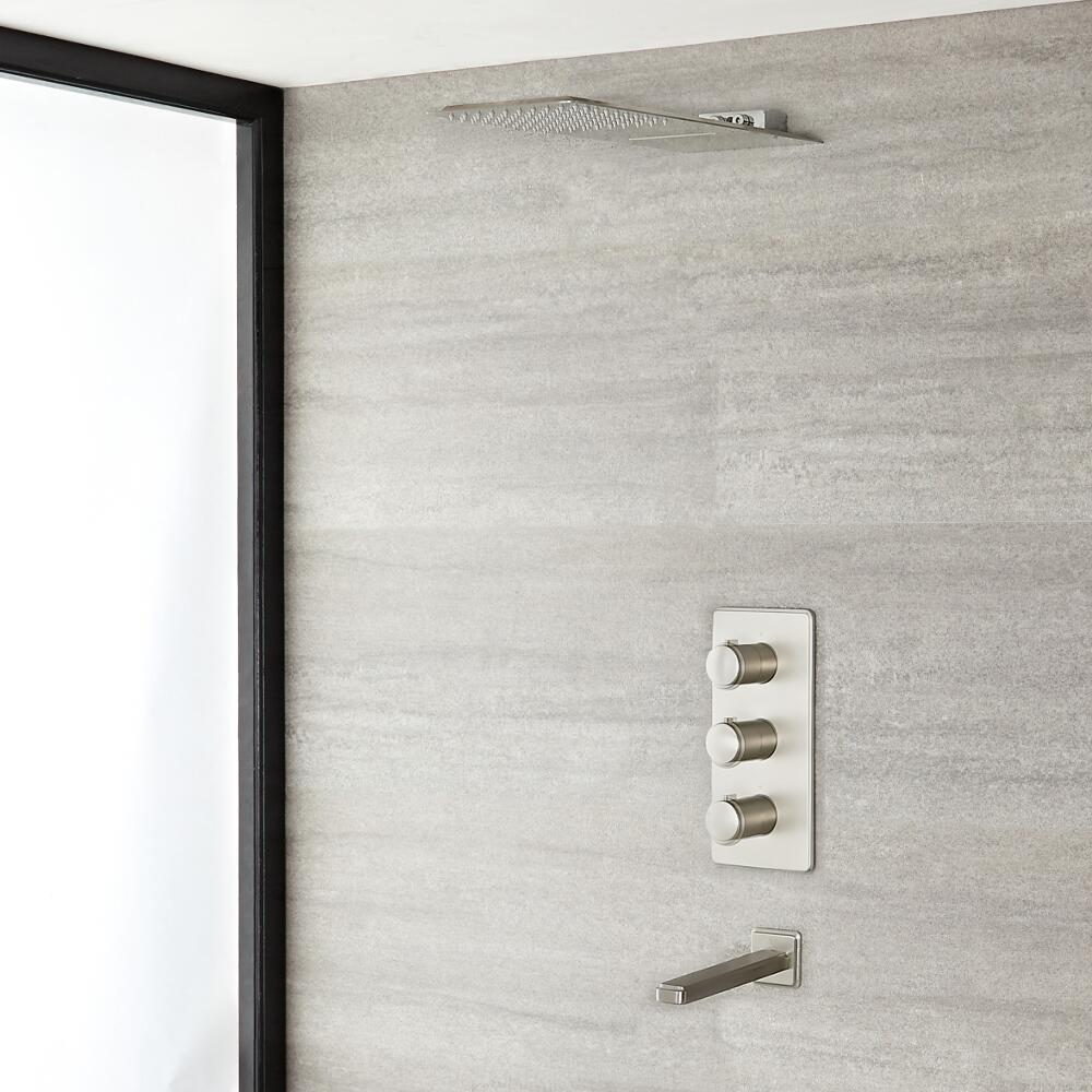 Eclipse Thermostatic Brushed Nickel Shower System with Waterfall Head and Tub Spout