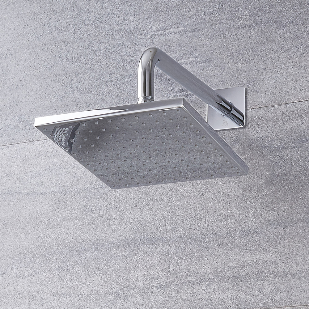 "Arcadia 8"" Chrome  Square Shower Head with Wall Arm"